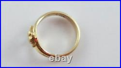 RETIRED James Avery 14k Yellow Gold Cross with Heart Ring Size 3.75 FREE SHIPPIN
