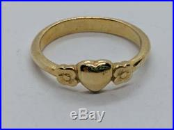 RETIRED James Avery 14k Yellow Gold Heart with Two Flowers Ring Sz 4.5 FREE SHIP