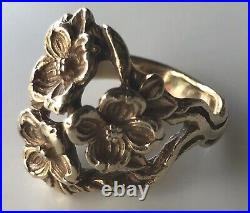 RETIRED James Avery Flower Bouquet Ring Size 6 14k Yellow Gold