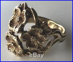 RETIRED James Avery Flower Bouquet Ring Size 6 Yellow Gold