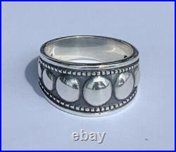 RETIRED James Avery Sterling Silver Graduated Beaded Ring with Taper, Size 8.5