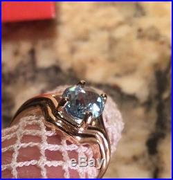 RET JAMES AVERY 14KT YELLOW GOLD BLUE TOPAZ ADRIANA HEARTS RING SZ 7 Aquamarine