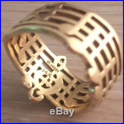 Rare James Avery Amazing Grace Ring sz 8 14k Gold 585 Retired Music Notes