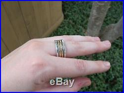 Rare Retired James Avery 14K Gold & 925 Thick Hammered Stacked Band Ring 8.5