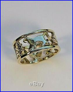 Rare Retired James Avery 14K Gold Cat Ring Size 7