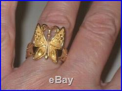 Rare Retired James Avery 14K Gold Mariposa Butterfly Ring Size 7 EUC