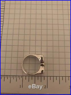 Rare Retired James Avery Sterling Silver and 14K Gold Bow Ring, Size 7.75