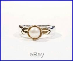 Ret James Avery Sterling Silver 14k Gold Genuine Pearl Flower Setting Ring Sz7.5