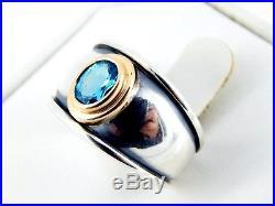 Retired Christina James Avery Sterling & 18K Blue Topaz Ring Size 7 1/2