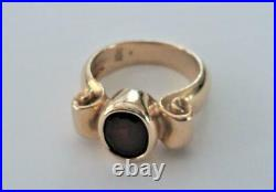 Retired JAMES AVERY 14K Yellow Gold Wide Scroll RIng with Garnet Sz 6