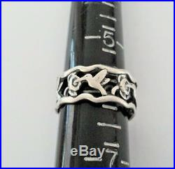 Retired JAMES AVERY Sterling Silver Hummingbird Band Ring Sz 6