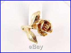 Retired James Avery 14K Large Rose Ring Size 5 1/2