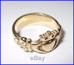 Retired James Avery 14k Yellow Gold Adorned Claddagh Ring Size 7