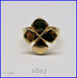 Retired James Avery 14k Yellow Gold Four Leaf Clover Ring Size 9.5 15.3g