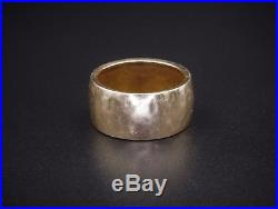 Retired James Avery 14k Yellow Gold Hammered 10mm Wide Band Ring Size 7 RG1214