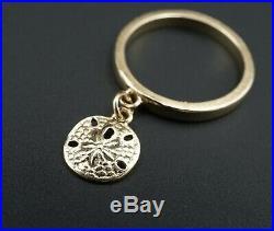 Retired James Avery 14k Yellow Gold Sand Dollar Dangle Charm Ring Sz 4.5 RG2378