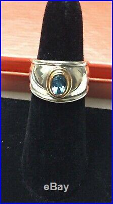Retired James Avery 18k Gold & Sterling Silver Christina Blue Topaz Ring