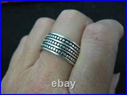 Retired James Avery 3 Row Dot Ring Sterling Silver Wide Band