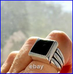 Retired James Avery Black Onyx Heavy Square Ring Size 8 Fast Shipping