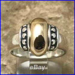 Retired James Avery Dome Thatch Beaded Ring Sz 7 14K Yellow Gold Sterling Silver