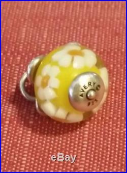 Retired James Avery Finial Daisy Glass Charm Sterling Silver Cut Ring