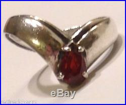 Retired James Avery GARNET RING Apogaean Teardrop Pear Shape Silver Size 4.5