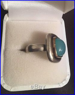 Retired James Avery Green Chrysoprase Sterling Silver And 14 K Gold Ring Sz 6.5