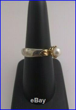 Retired James Avery Silver and 14 kt Gold Pearl Flower Ring