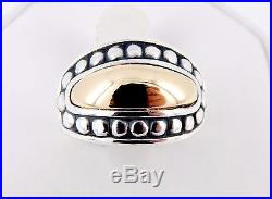 Retired James Avery Sterling & 14K Beaded Dome 14mm Ring Size 7