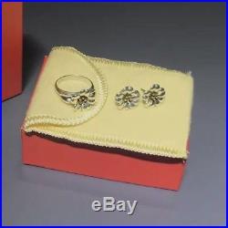 Retired James Avery Sterling/18kApril Flower Ear Posts+Ring Sz 6.25 SetEUC