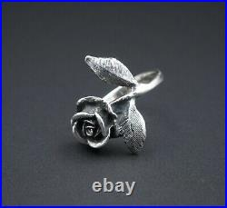 Retired James Avery Sterling Silver 3D Vintage Rose Ring Size 5 Free Ship RS2777