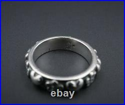 Retired James Avery Sterling Silver Hearts Flowers Band Ring Size 6.5 RS2687