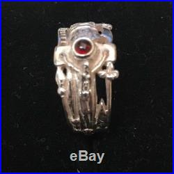 Retired James Avery Sterling Silver Martin Luther Ring with Garnet Size 7