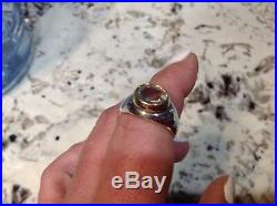 Retired James Avery Sterling silver and 14k yellow gold ring 9 Green Amethyst