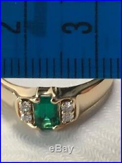 Retired Rare James Avery Barcelona Emerald Diamond Ring Sz 7 1/4 Gold 14K