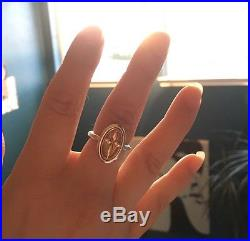 Retired Rare James Avery Blossom Cross Ring Silver And 14k Gold Size 8