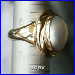 Retired & UNIQUE James Avery 14k Gold OVAL PEARL Ring Size 6.5