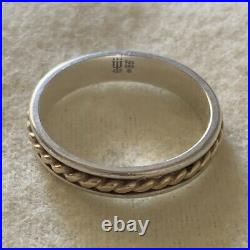 Size 10 James Avery 14k Gold & Sterling Silver 925 Twisted Braid Band Ring