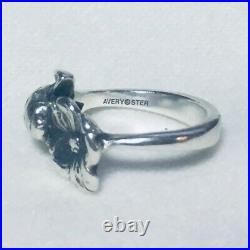 Size 4 Retired James Avery Sterling Silver 925 Dogwood Flower and Ladybug Ring
