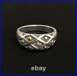 Size 8.5 JAMES AVERY 14k Gold & Sterling Silver BEADED LATTICE RING Retired Nice