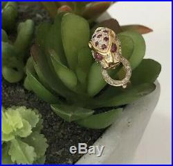 Solid 14k Yellow Gold Cougar Leopard Ruby & Diamond Ring 4g, Size 7, 1028