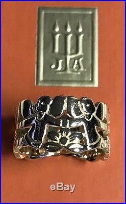 ULTRA RARE James Avery RETIRED 14kt Yellow Gold CONTINUOUS ANGELS Band Ring