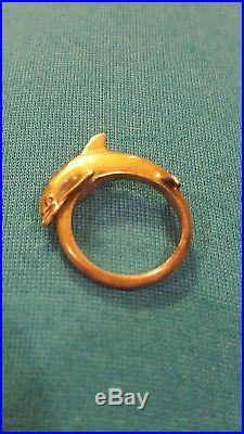 VERY OLD & RETIRED James Avery Dolphin Ring Size 7.5 3 925 Sterling Silver