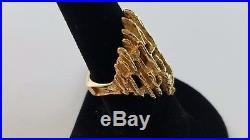 VERY RARE RETIRED James Avery Tall Tree Bark Nugget Ring 14k Yellow Gold Size 8