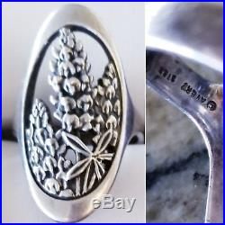 Very Rare Retired James Avery Silver Bluebonnet Oval Ring Size 7 GORGEOUS