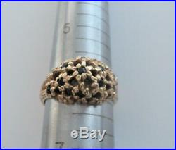 Vintage JAMES AVERY 14k Yellow Gold & Blue Sapphire Cluster Style Ring Sz 6