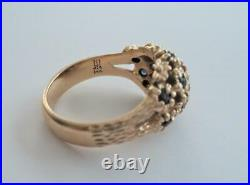 Vintage JAMES AVERY 14k Yellow Gold & Blue Sapphire MARGARITA DOME Ring Sz 6