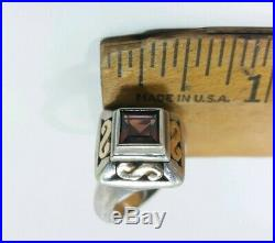 Vintage James Avery Sterling Silver & 18k Yellow Gold w Garnet Two-tone Ring s6